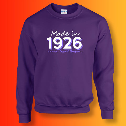 Made In 1926 and The Legend Lives On Sweater Purple