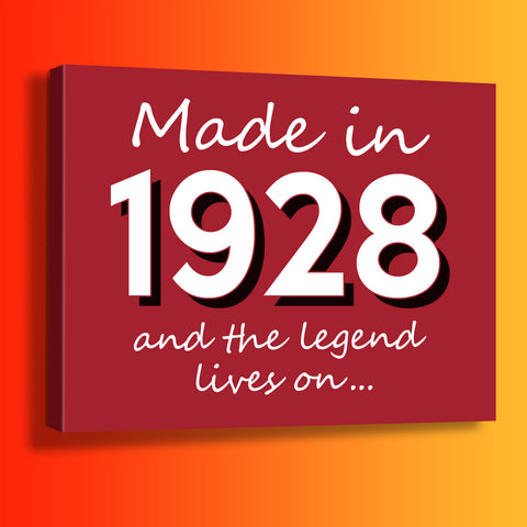 Made In 1928 and The Legend Lives On Canvas Print Brick Red
