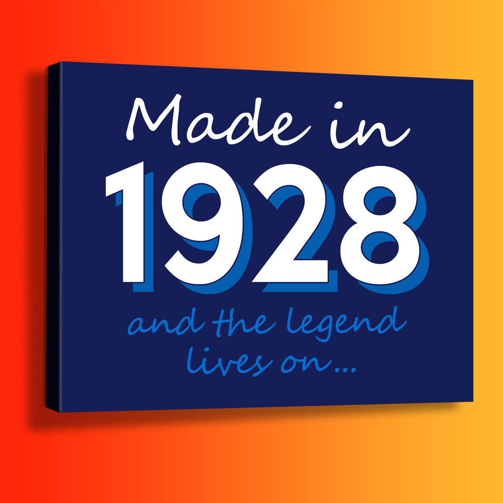Made In 1928 and The Legend Lives On Canvas Print Navy