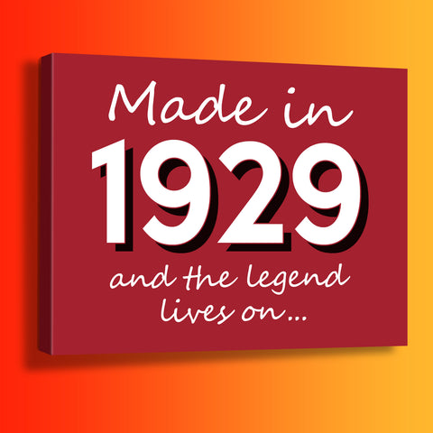 Made In 1929 and The Legend Lives On Canvas Print Brick Red