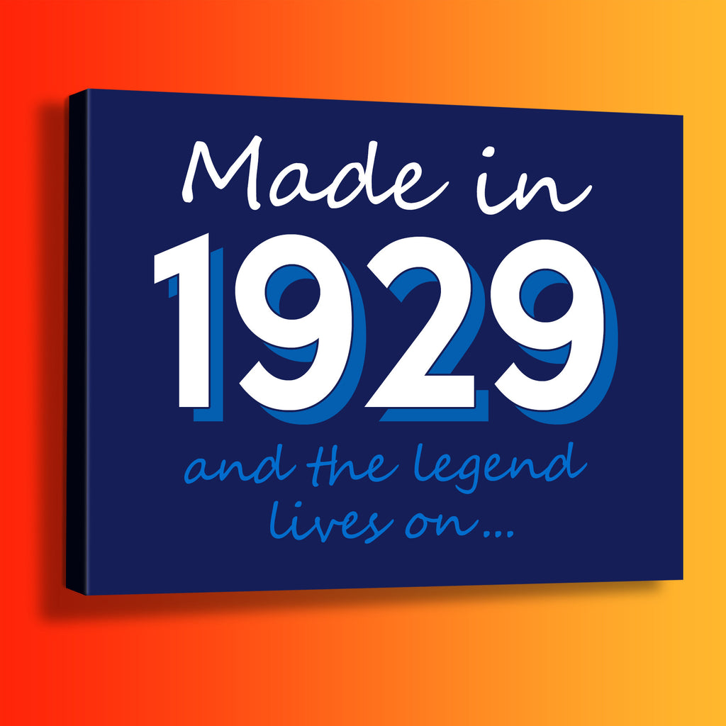 Made In 1929 and The Legend Lives On Canvas Print Navy