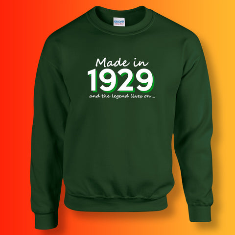 Made In 1929 and The Legend Lives On Sweater Bottle Green