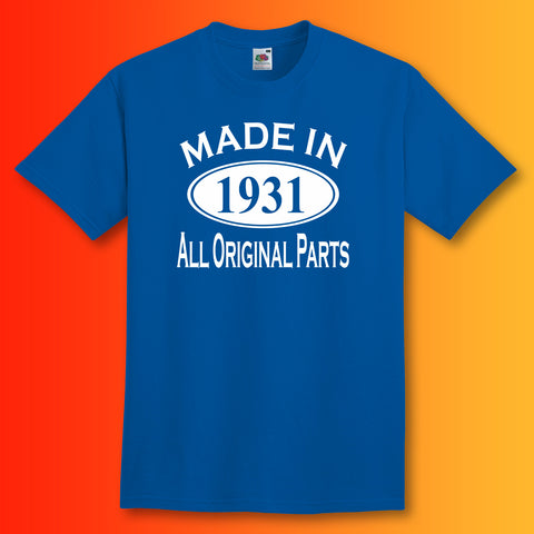 Made In 1931 T-Shirt Royal Blue