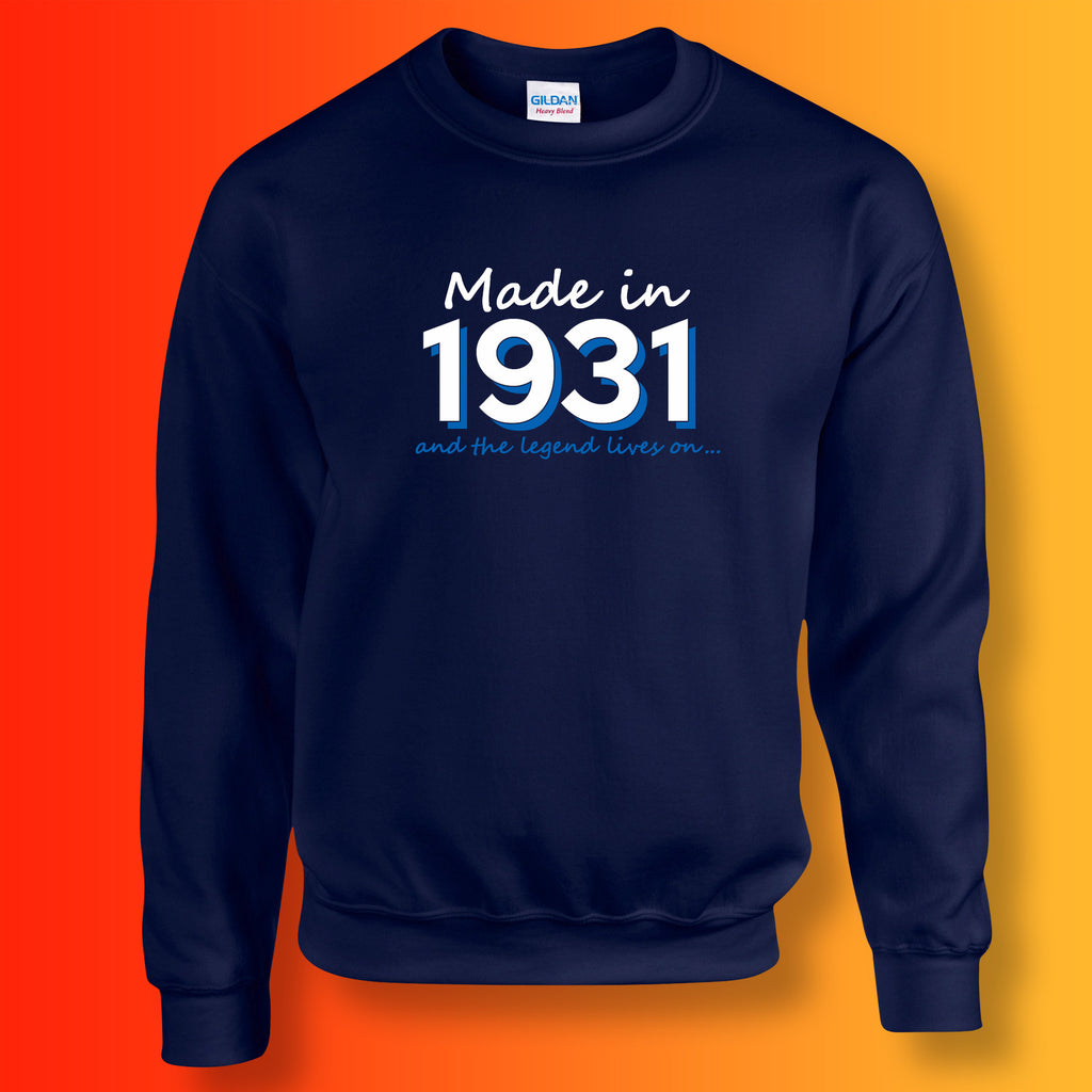 Made In 1931 and The Legend Lives On Sweater Navy