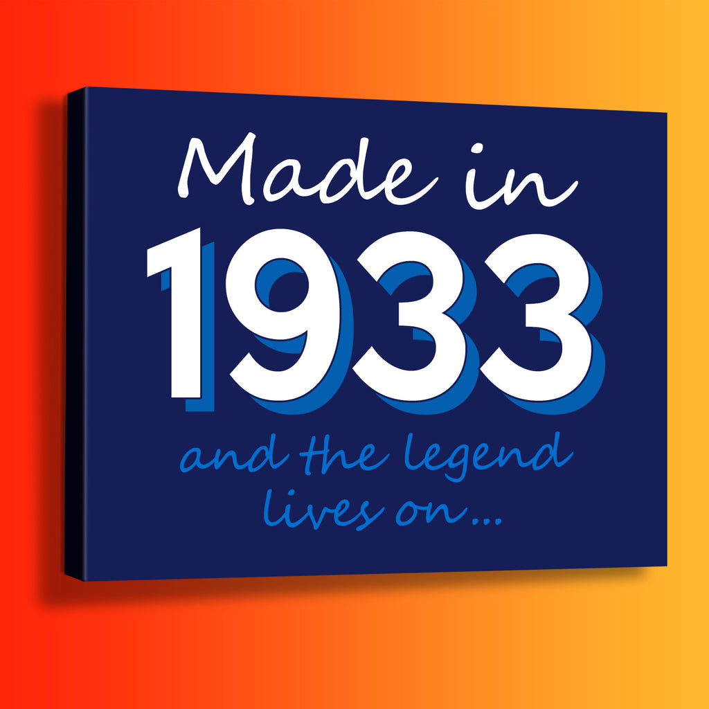 Made In 1933 and The Legend Lives On Canvas Print Navy