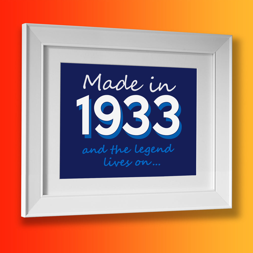 Made In 1933 and The Legend Lives On Framed Print Navy