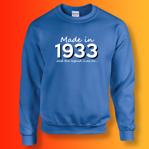 Made In 1933 and The Legend Lives On Sweater Royal Blue