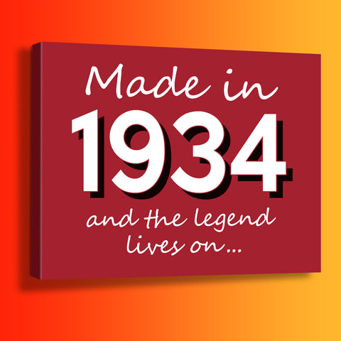 Made In 1934 and The Legend Lives On Canvas Print Brick Red