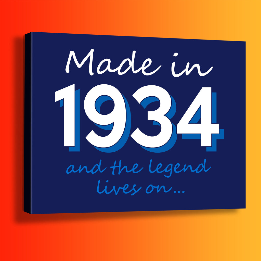 Made In 1934 and The Legend Lives On Canvas Print Navy