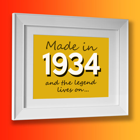 Made In 1934 and The Legend Lives On Framed Print Sunflower