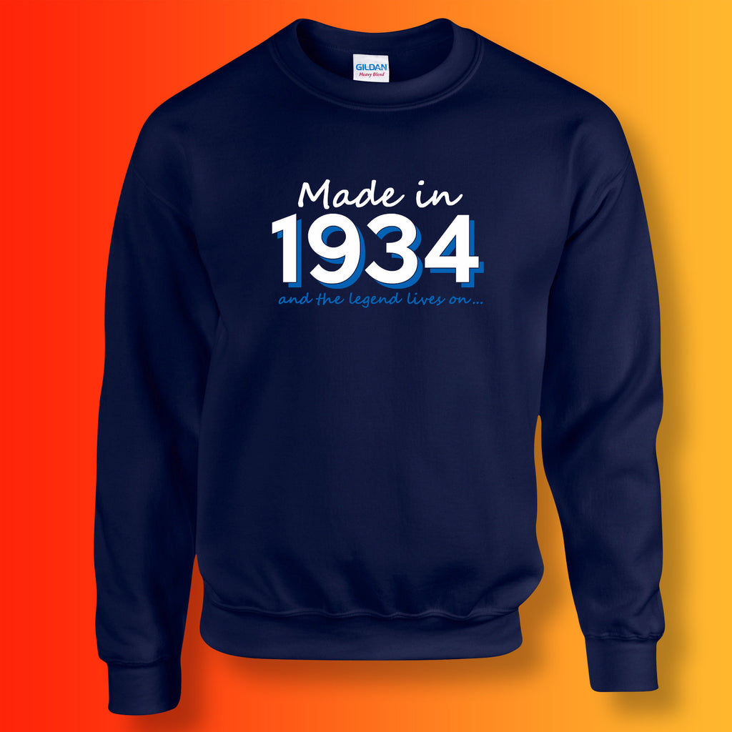 Made In 1934 and The Legend Lives On Sweater Navy
