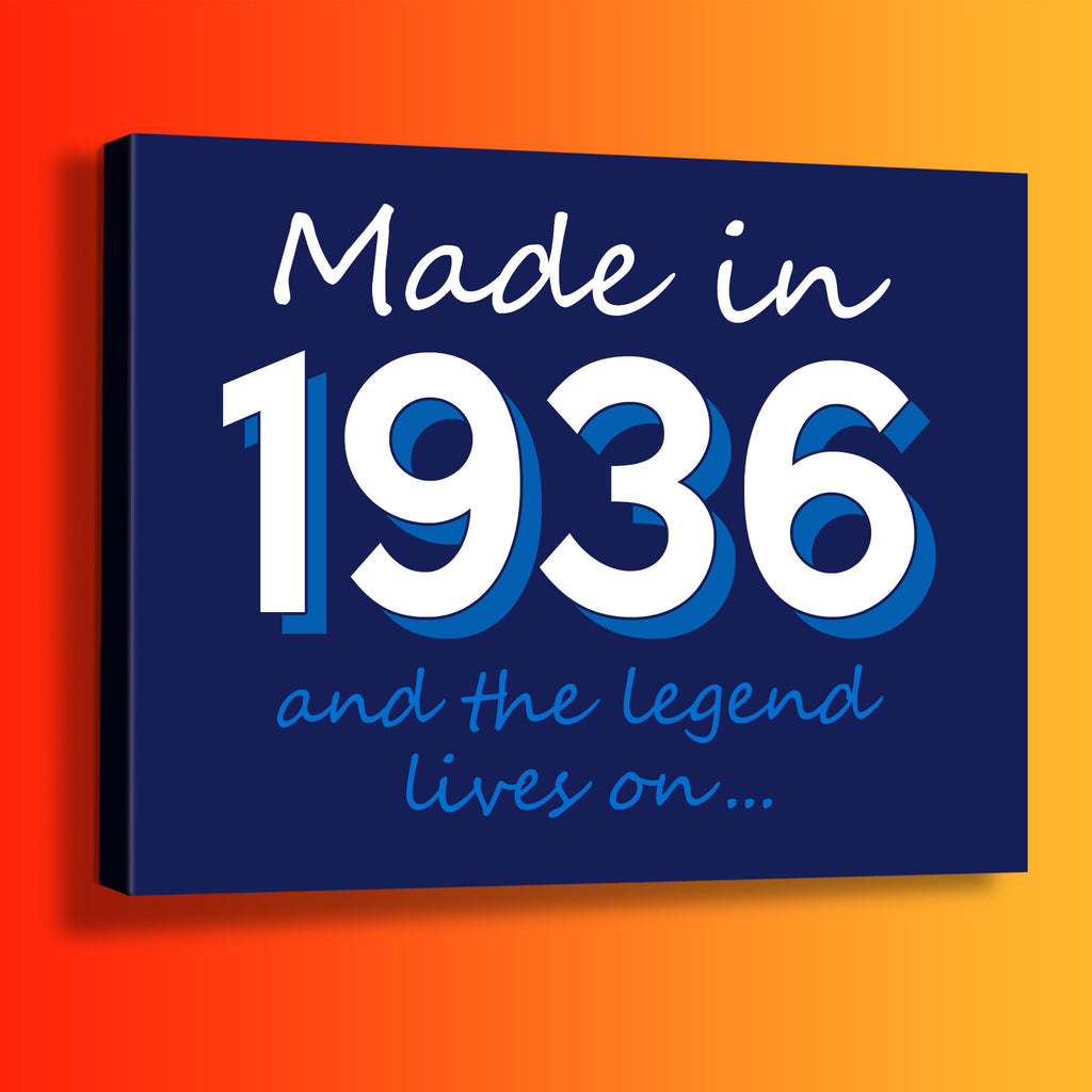 Made In 1936 and The Legend Lives On Canvas Print Navy