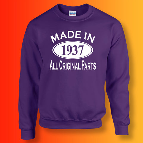 Made In 1937 All Original Parts Sweater Purple