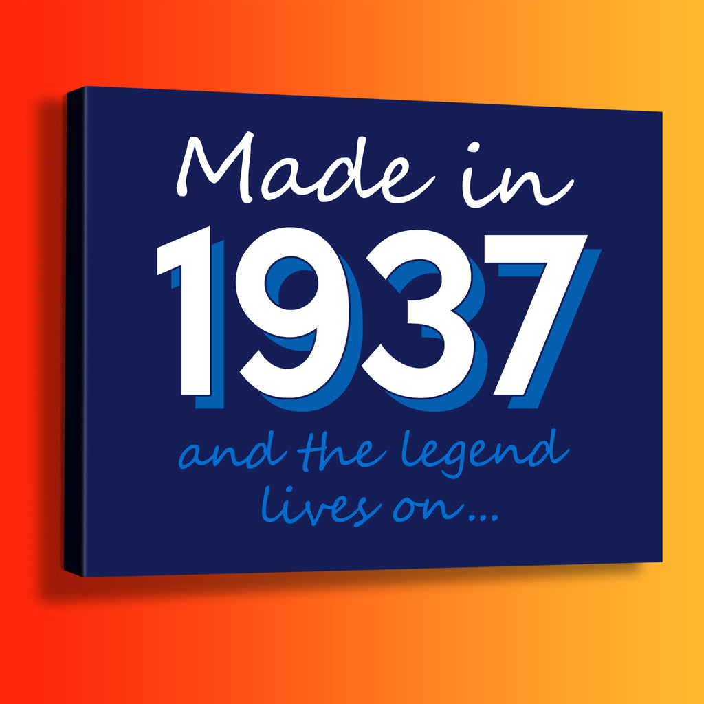 Made In 1937 and The Legend Lives On Canvas Print Navy