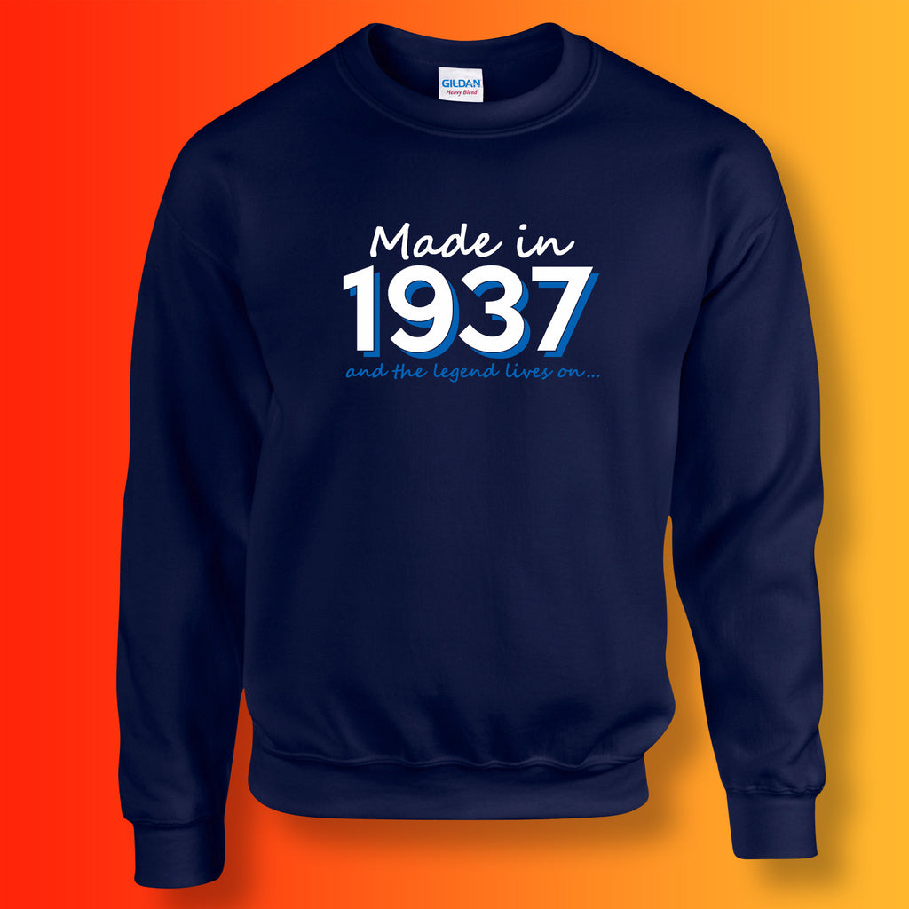 Made In 1937 and The Legend Lives On Sweater Navy