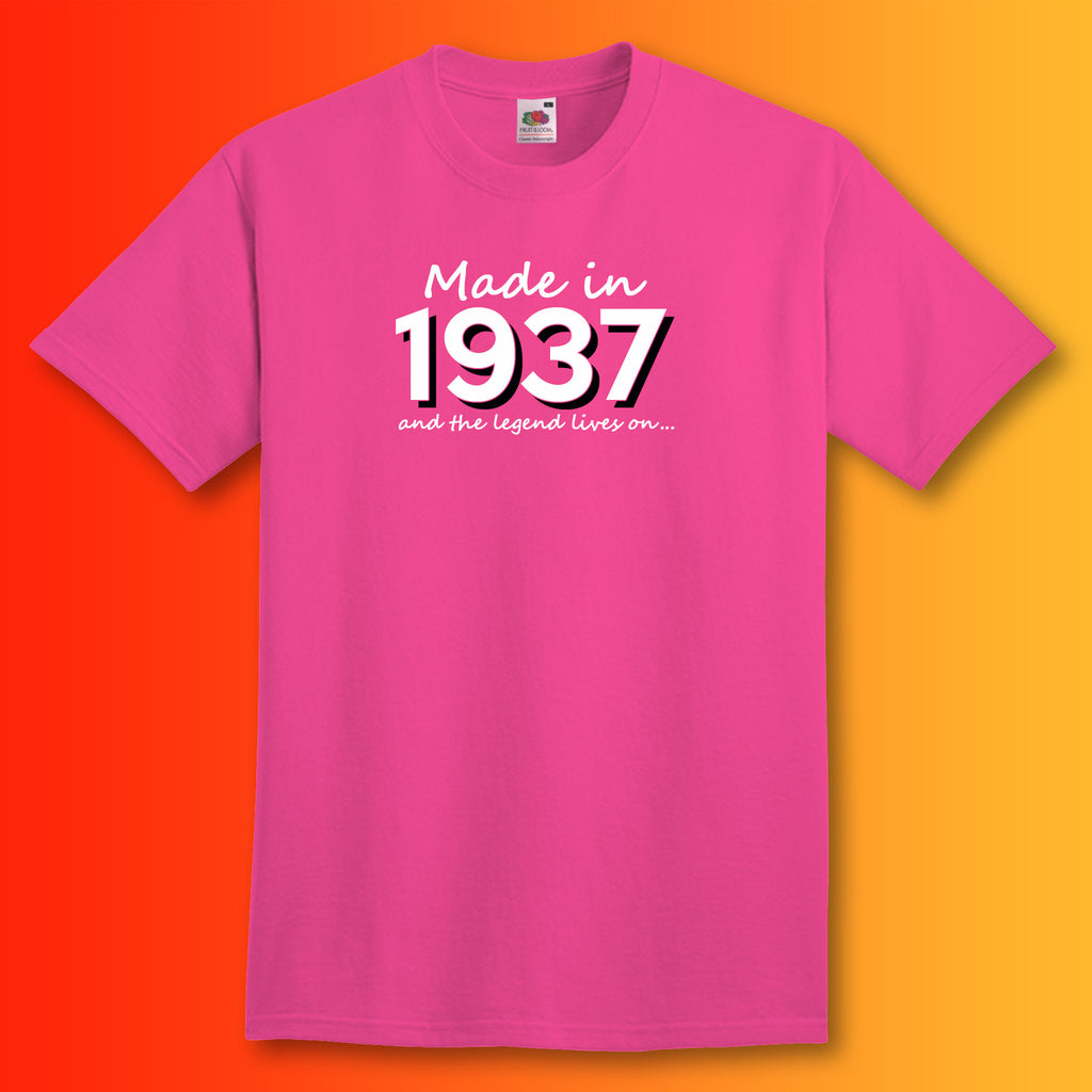 Made in 1937 and the legend lives on t shirt for Made in t shirts