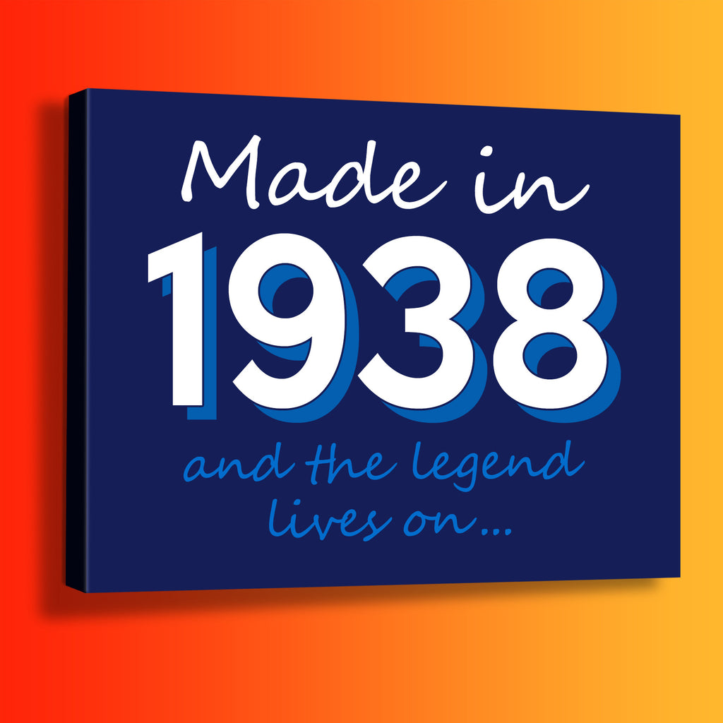 Made In 1938 and The Legend Lives On Canvas Print Navy