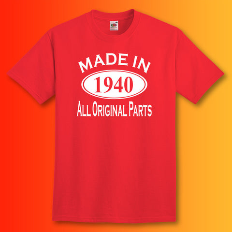 Made In 1940 T-Shirt Red