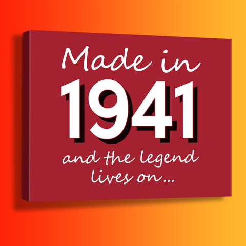 Made In 1941 and The Legend Lives On Canvas Print Brick Red