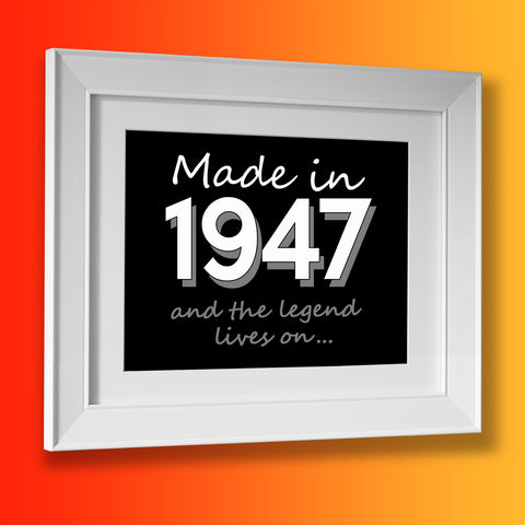 Made In 1947 and The Legend Lives On Framed Print Brick Red