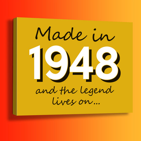Made In 1948 and The Legend Lives On Canvas Print Sunflower