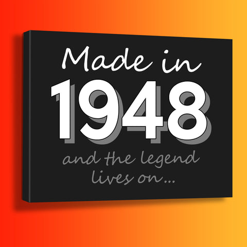Made In 1948 and The Legend Lives On Canvas Print Azure