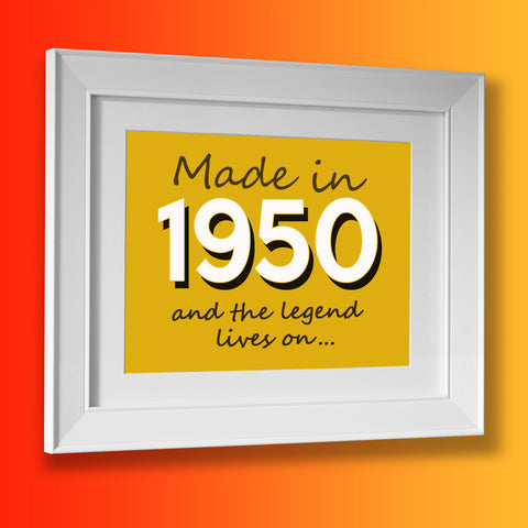 Made In 1950 and The Legend Lives On Framed Print Sunflower