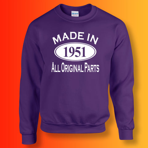 Made In 1951 All Original Parts Sweater Purple
