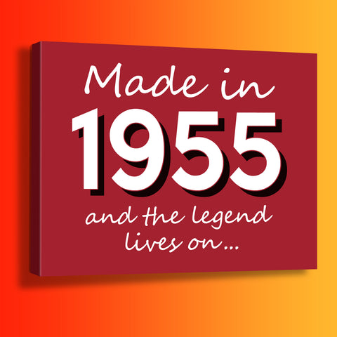Made In 1955 and The Legend Lives On Canvas Print Brick Red