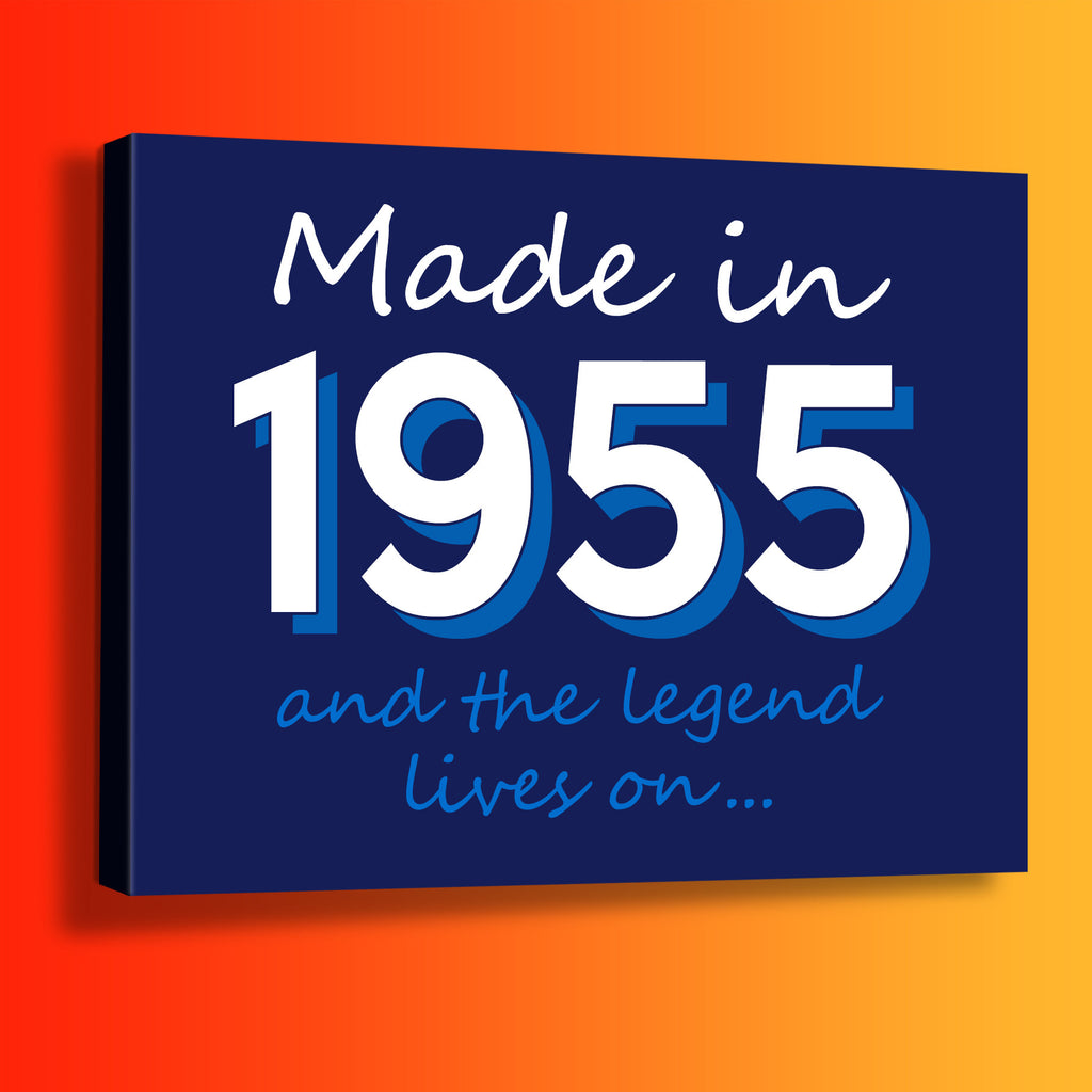 Made In 1955 and The Legend Lives On Canvas Print Navy