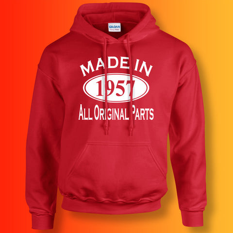 Made In 1957 Hoodie Red