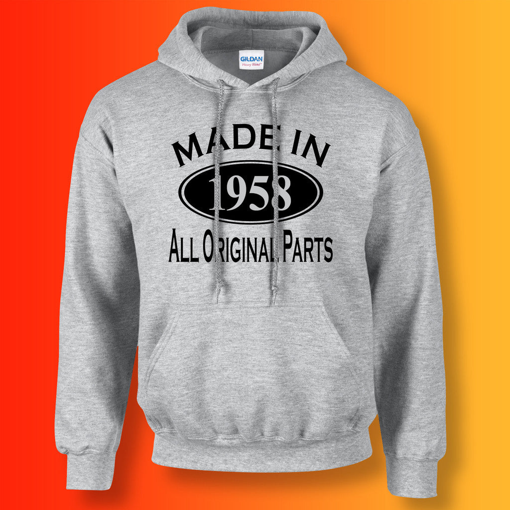 Made In 1958 Hoodie Heather Grey