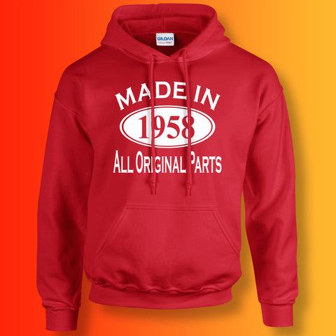 Made In 1958 Hoodie Red
