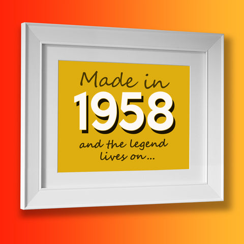 Made In 1958 and The Legend Lives On Framed Print Sunflower