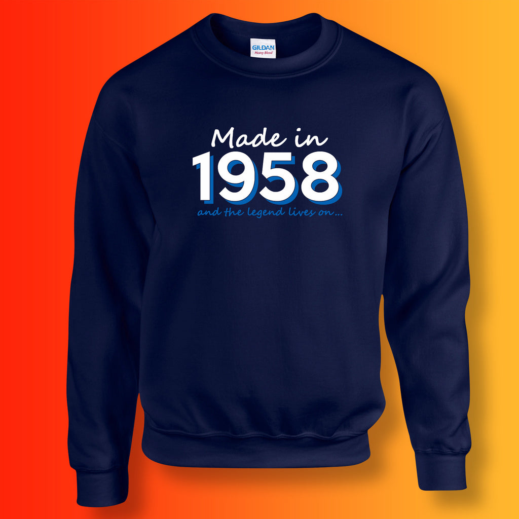 Made In 1958 and The Legend Lives On Sweater Navy
