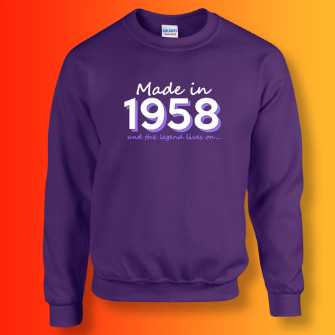 Made In 1958 and The Legend Lives On Sweater Purple