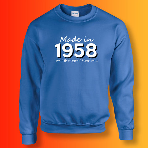 Made In 1958 and The Legend Lives On Sweater Royal Blue