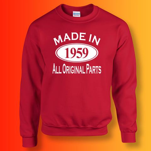 Made In 1959 All Original Parts Sweater Red