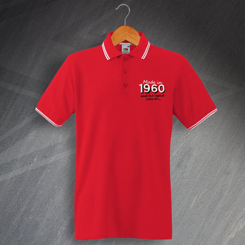 Made in 1960 and The Legend Lives On Embroidered Tipped Polo Shirt