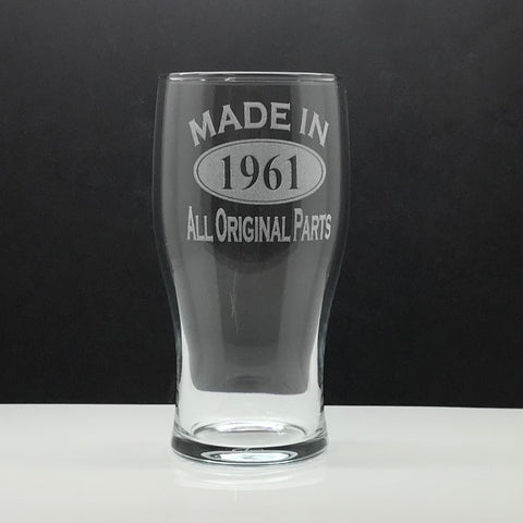 1961 Pint Glass Engraved Made in 1961 All Original Parts