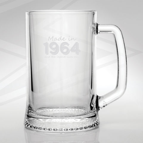 1964 Glass Tankard Engraved Made in 1964 and The Legend Lives On