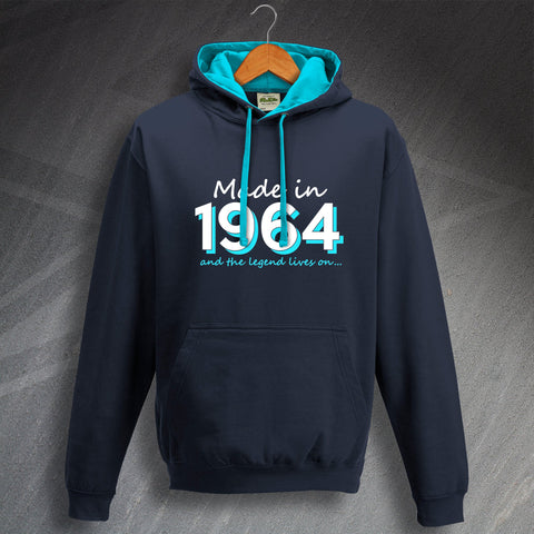 1964 Hoodie Contrast Made in 1964 and The Legend Lives On