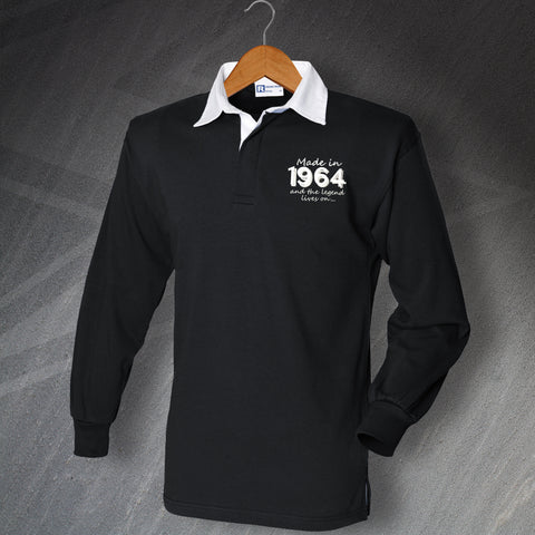 1964 Long Sleeve Rugby Shirt Embroidered Made in 1964 and The Legend Lives On