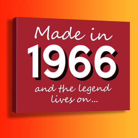 Made In 1966 and The Legend Lives On Canvas Print Brick Red