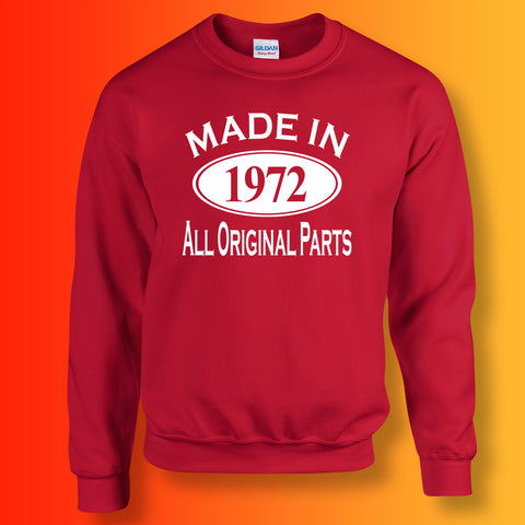 Made In 1972 All Original Parts Sweater Red