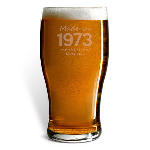 Made In 1973 and The Legend Lives On Beer Glass