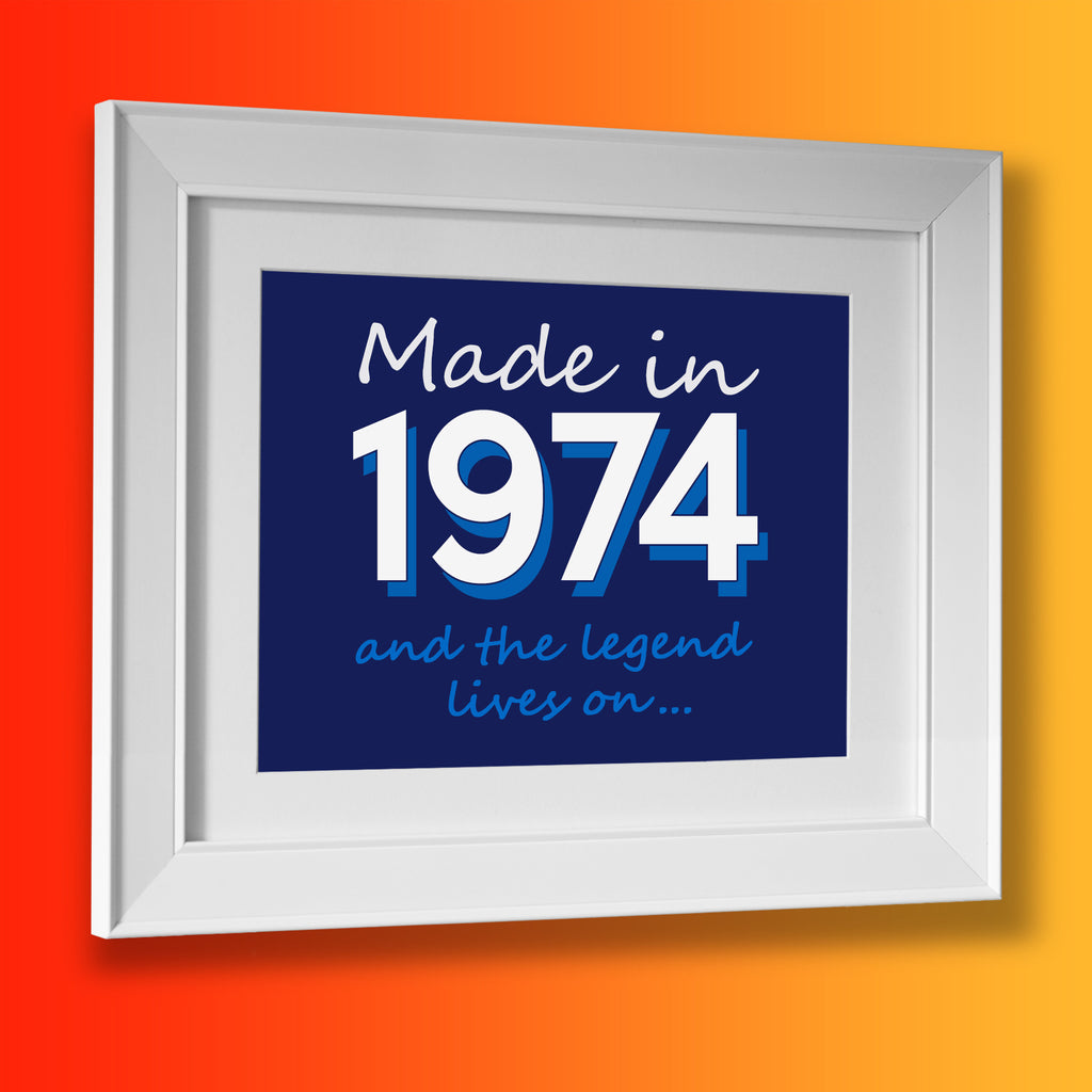Made In 1974 and The Legend Lives On Framed Print Navy