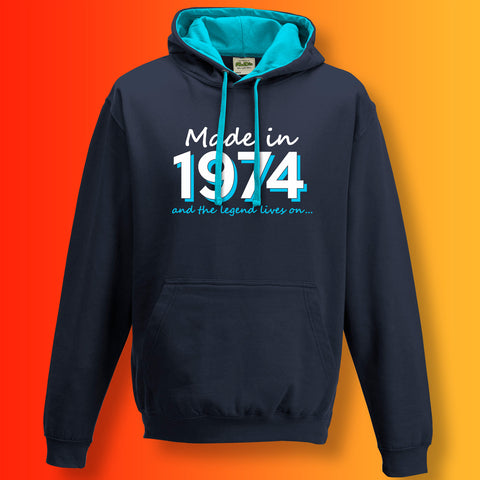 Made In 1974 and The Legend Lives On Unisex Contrast Hoodie