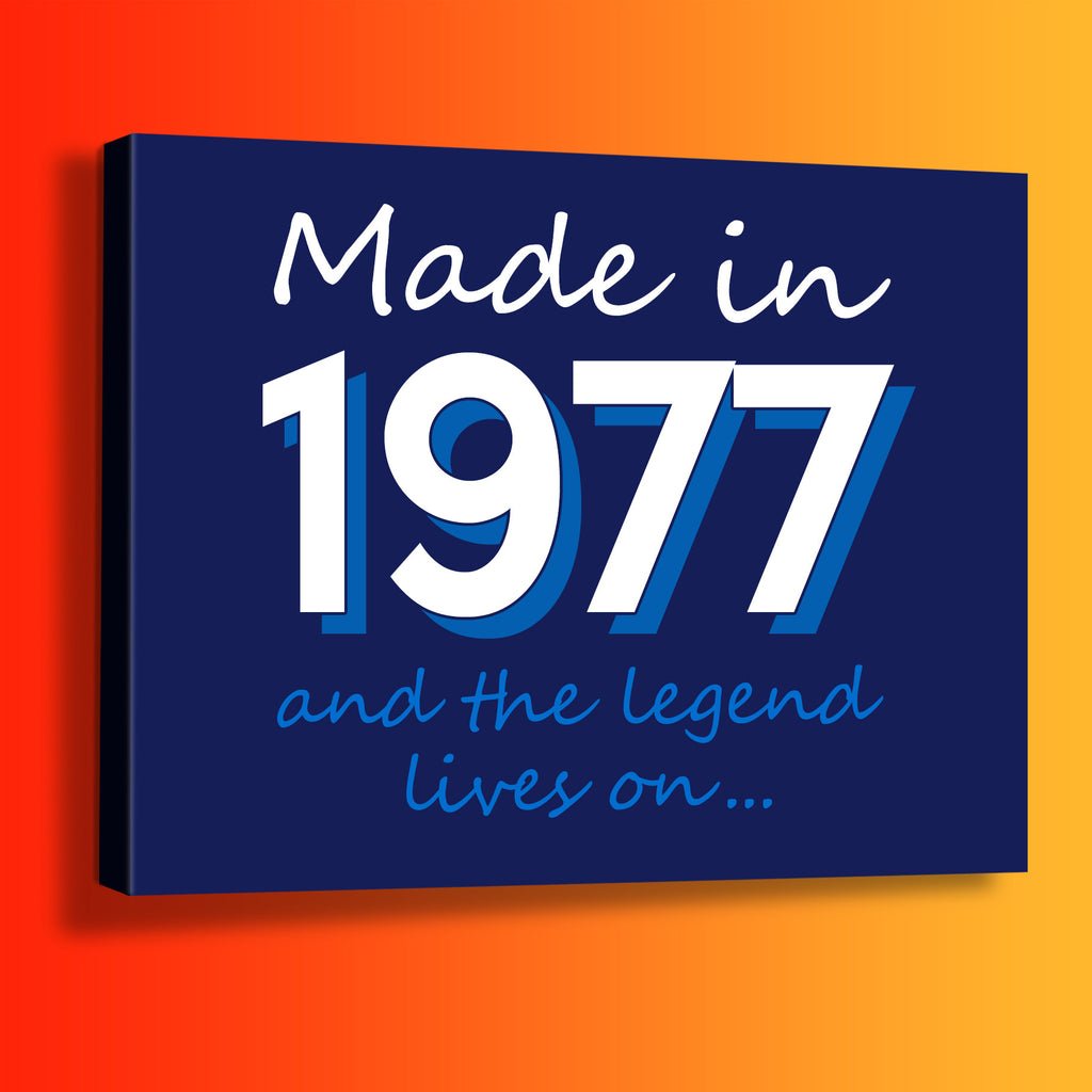Made In 1977 and The Legend Lives On Canvas Print Navy