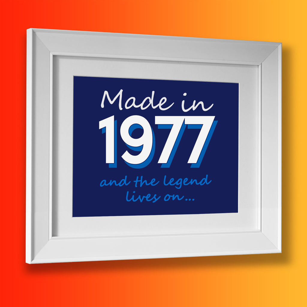 Made In 1977 and The Legend Lives On Framed Print Navy